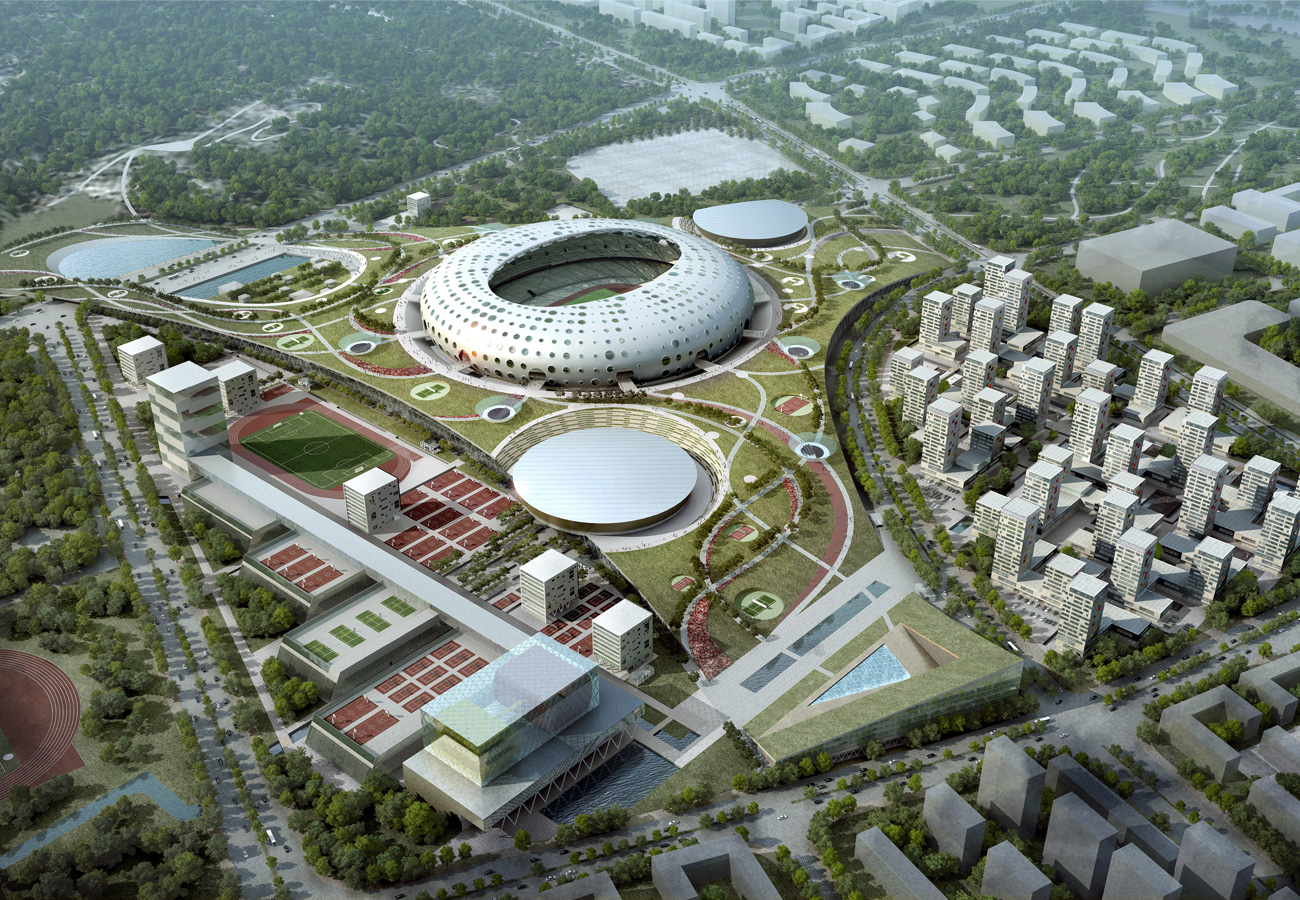 Wenzhou-Olympic-Sports-Center-Vogelperspektive-nacht
